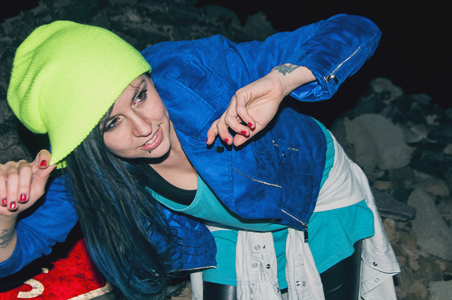For Peet's Sake blog neon acid yellow beanie royal blue jacket
