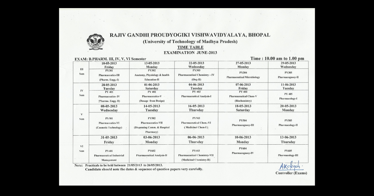 Rgpv b pharmacy 3rd 4th 5th and 6th sem time table 2013 for Rdvv 5th sem time table