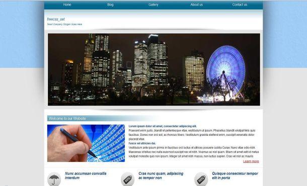 Free Gray Blue Business CSS Website Template