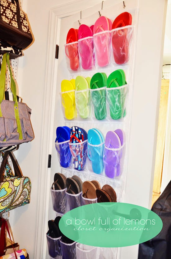 Organize flip flops in a shoe pocket on the back of the door:: OrganizingMadeFun.com