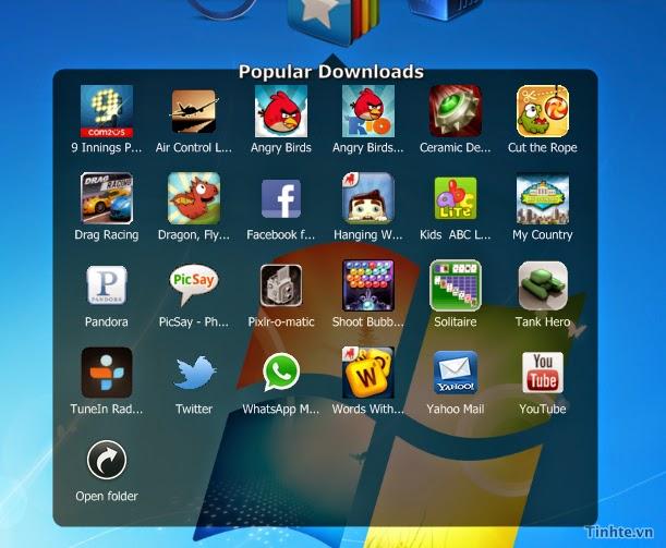 Thanh công cụ ở cạnh trên màn hình cho phép bạn duyệt qua các ứng dụng hay, ứng dụng bạn đã cài đặt hoặc kích hoạt Cloud Connect
