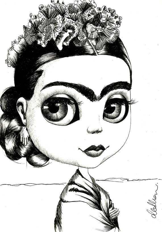 Studio De Shan 100 Drawings In 100 Days Blythe As Frida Kahlo