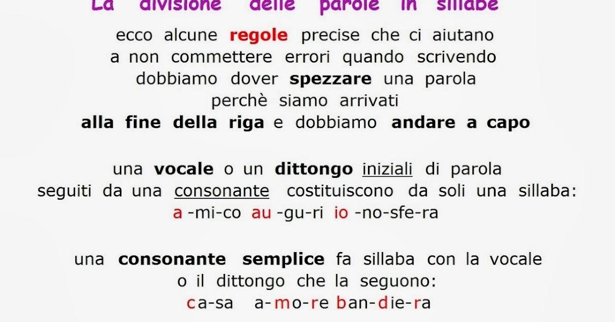 Famoso Paradiso delle mappe: La divisione delle parole in sillabe IB02