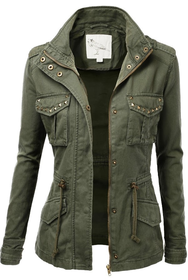 Adorable green military fall jacket for fashion