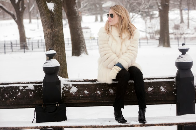 Winter, park bench, Central Park, New York, white fur coat vintage, brocade pants Zara, patent leather boots, Pour la Victoire