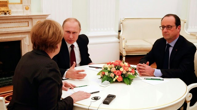 President Putin took a timeout after negotiations with the leaders of France and Germany to settle the crisis in Donbass