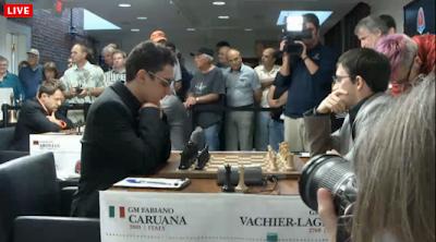 Le Français Vachier-Lagrave n'a rien pu faire contre l'incroyable Italien Fabiano Caruana lors de la ronde 7 - capture d'écran du Live © Chess & Strategy