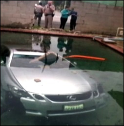 Family wakes up to Lexus in their pool