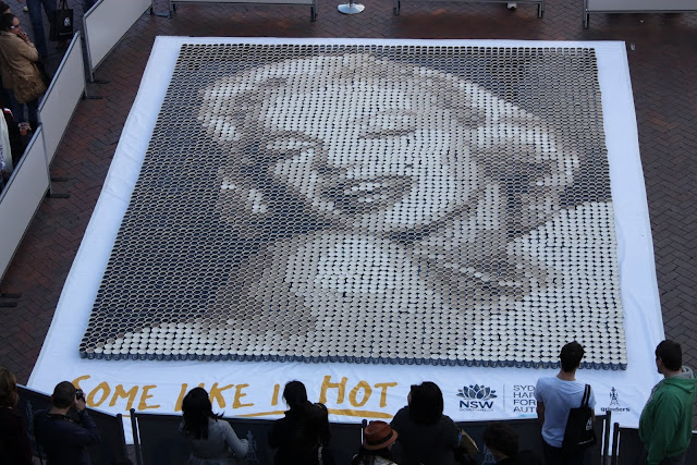 Marilyn Monroe, coffee cup portrait, Rocks Aroma festival