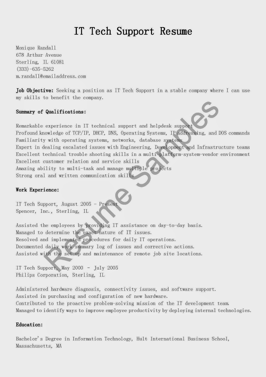 resume samples it tech support resume sample