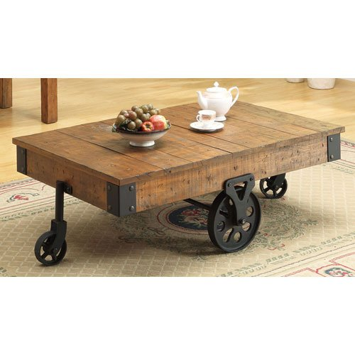 Industrial Metal Coffee Table With Wheels: Modern Industrial Warehouse & Railroad Cart Coffee Tables