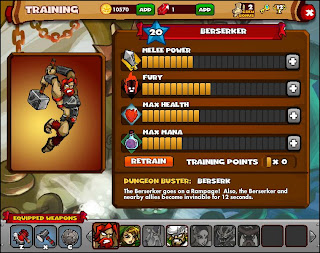Dungeon Rampage beserker Training Screen facebook game