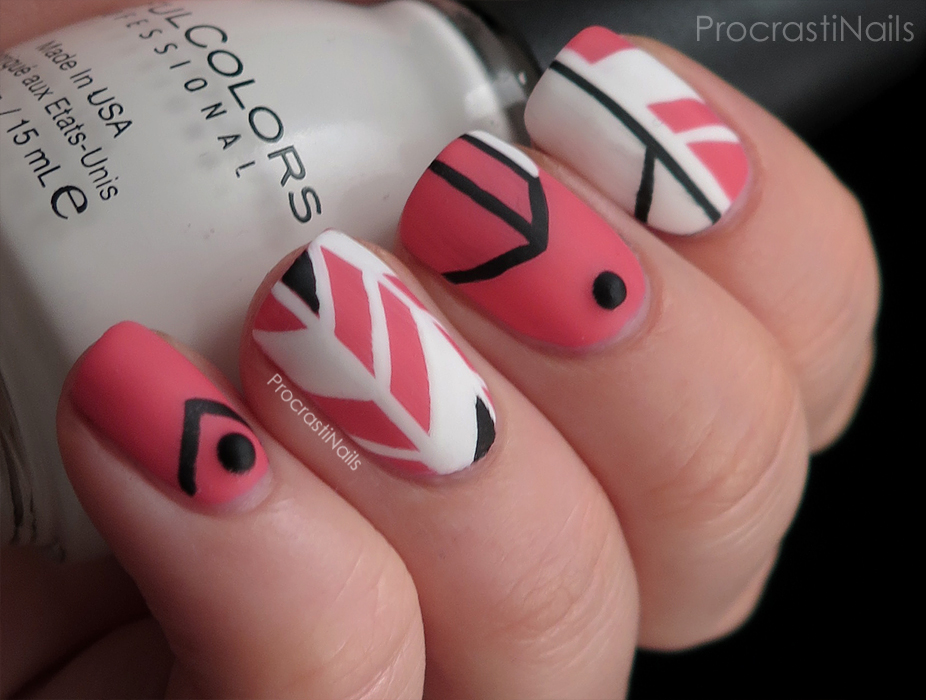 Pink black and white geometric nail art procrastinails pink black and white geometric nail art prinsesfo Image collections
