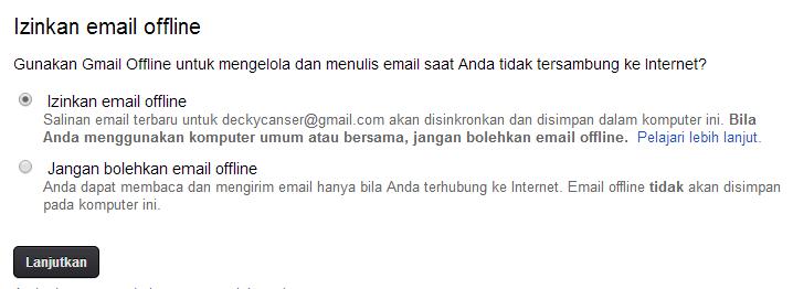 Menggunakan aplikasi gmail offline