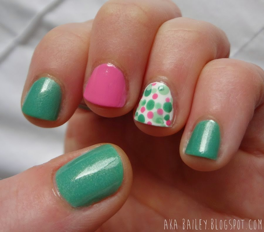 Mint Apple nails with Tip Toe Pink and polka dot accent nails