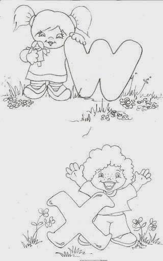 desenho de alfabeto das crianças W e X
