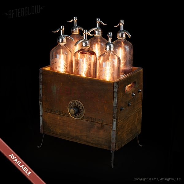 "Repurposed Lighting Art ""Seltzer Bottles"" by Andy Shulman of Afterglow"