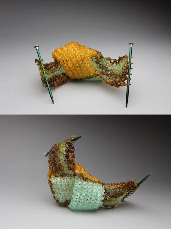 Carol Milne esculturas de vidro tricotado