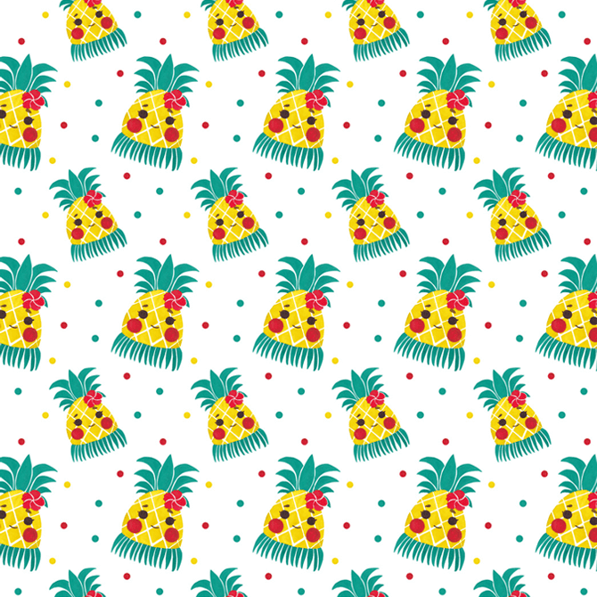 Miss Hawaiian Pineapple Pattern Watercolor Illustration by Haidi Shabrina