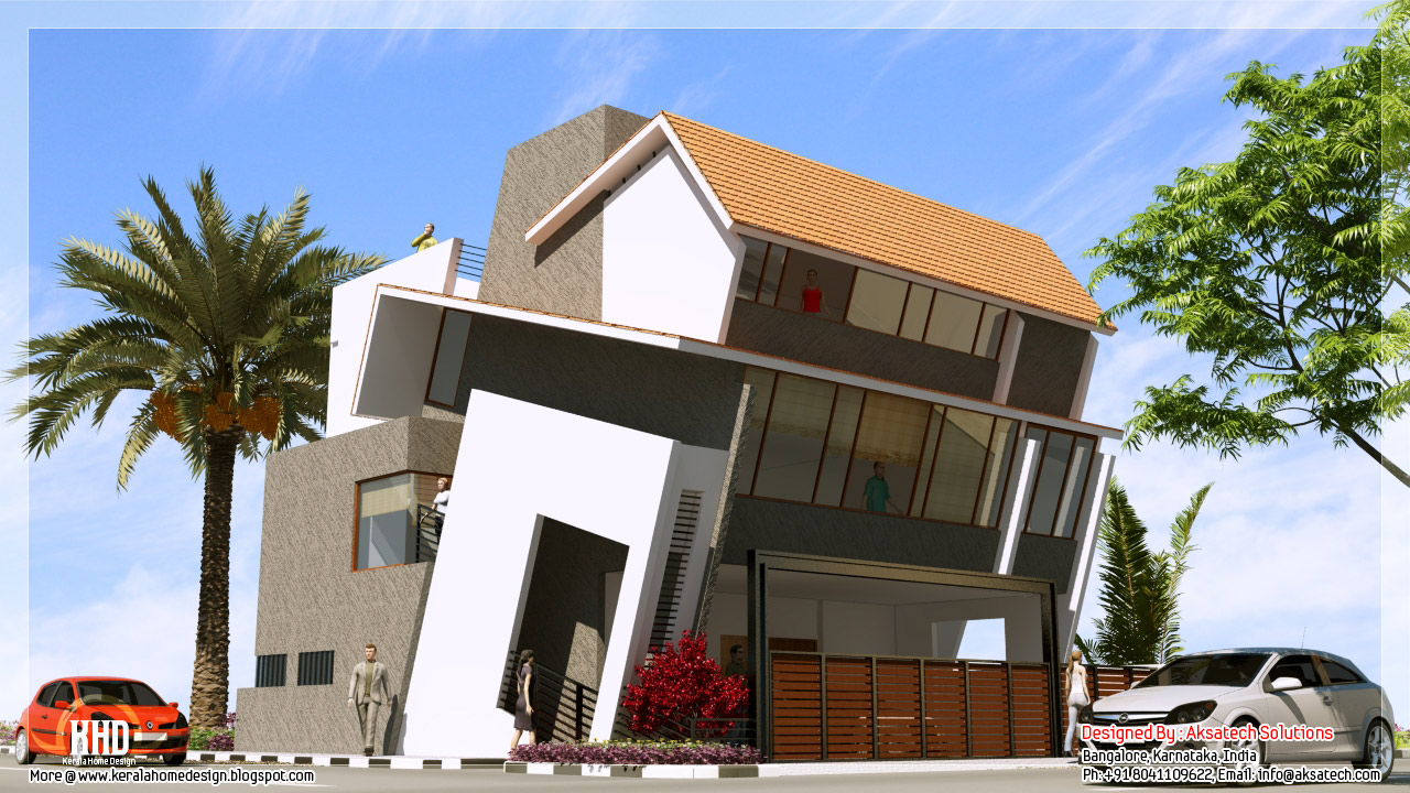 Mix collection of 3d home elevations and interiors for Home designs 3d images