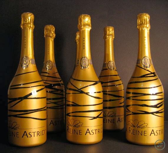 bouteilles champagne customisées à la main reine astrid