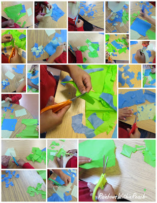 photo of: fine motor, scissors, cutting, Preschool, Head Start, Kindergarten, tissue paper