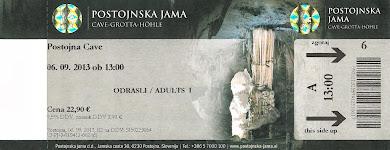 Το εισιτήριο εισόδου για το σπήλαιο Ποστόινα (Postojna) της Σλοβενίας :