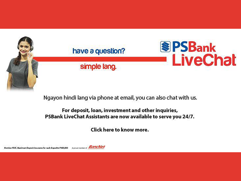PSBank Introduces LiveChat, the First Real-time Service in The Local Banking Industry