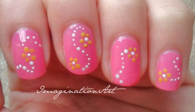 nail art easy facile pois pallini rosa pink fiori flower