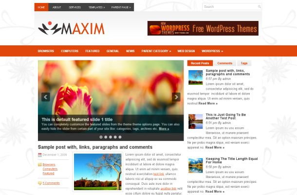 Floral Business Orange Wordpress Theme Template