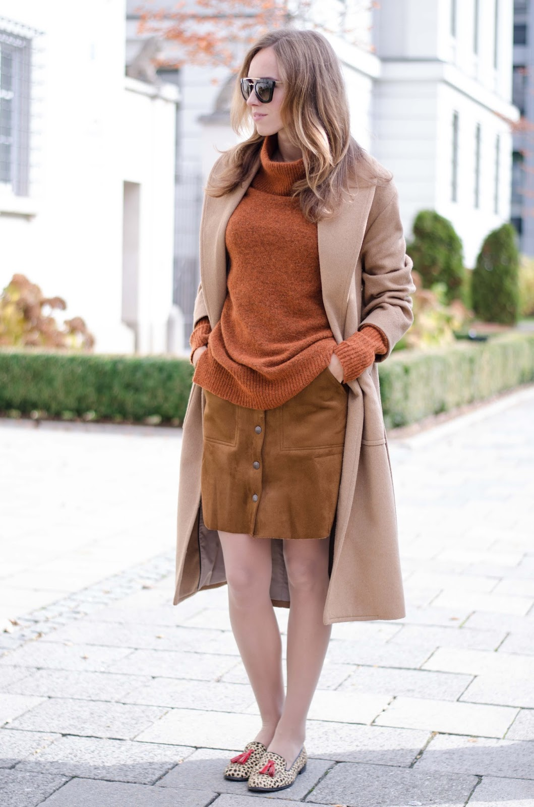 kristjaana mere mango camel coat lindex rustic roll neck sweater suede mini skirt fall fashion