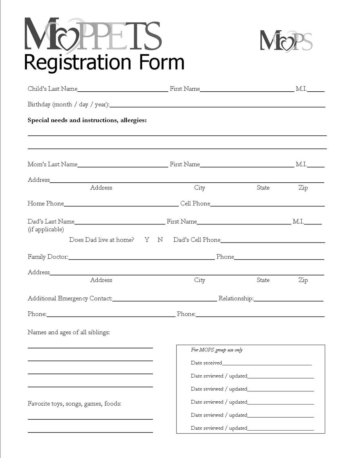 Church Registration Form Template Free Registration Form Template    Jcmanagement.co