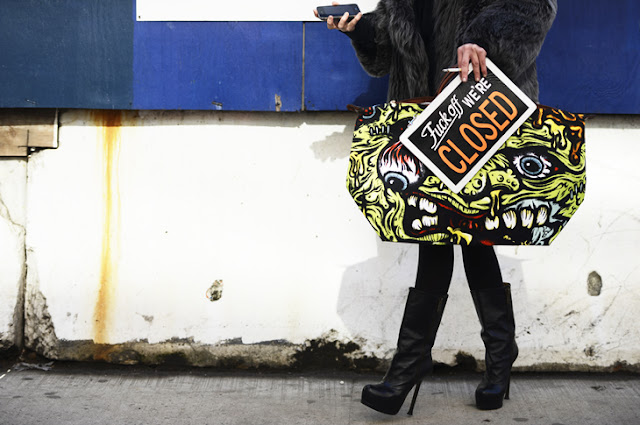 high hills-boots-monster-graffiti-bag