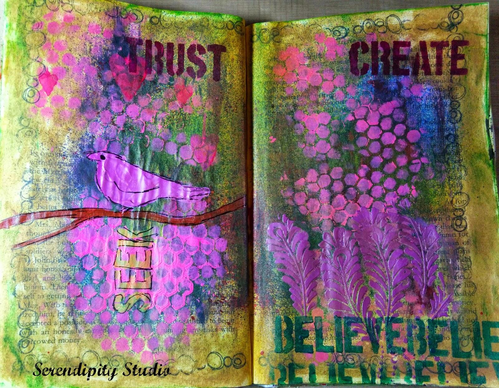 art journal journey, art journal page created by www.serendipitystudiobycw.blogspot.com , ArtistCellar stencils, DecoArt Media Line Fluid Acrylics