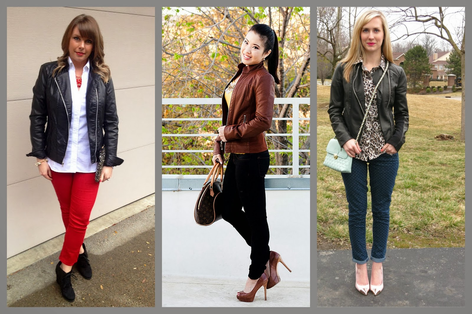 Express (minus the) leather jacket, jeans, heels, blouse, how to wear