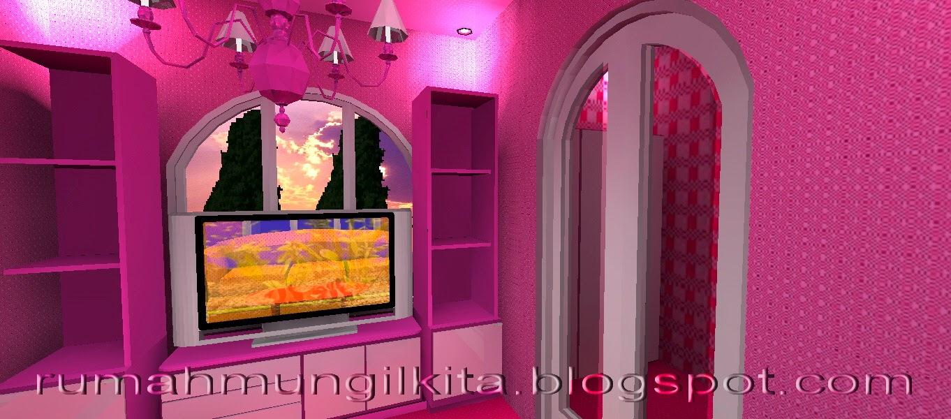 Rak TV sederhana warna merah muda