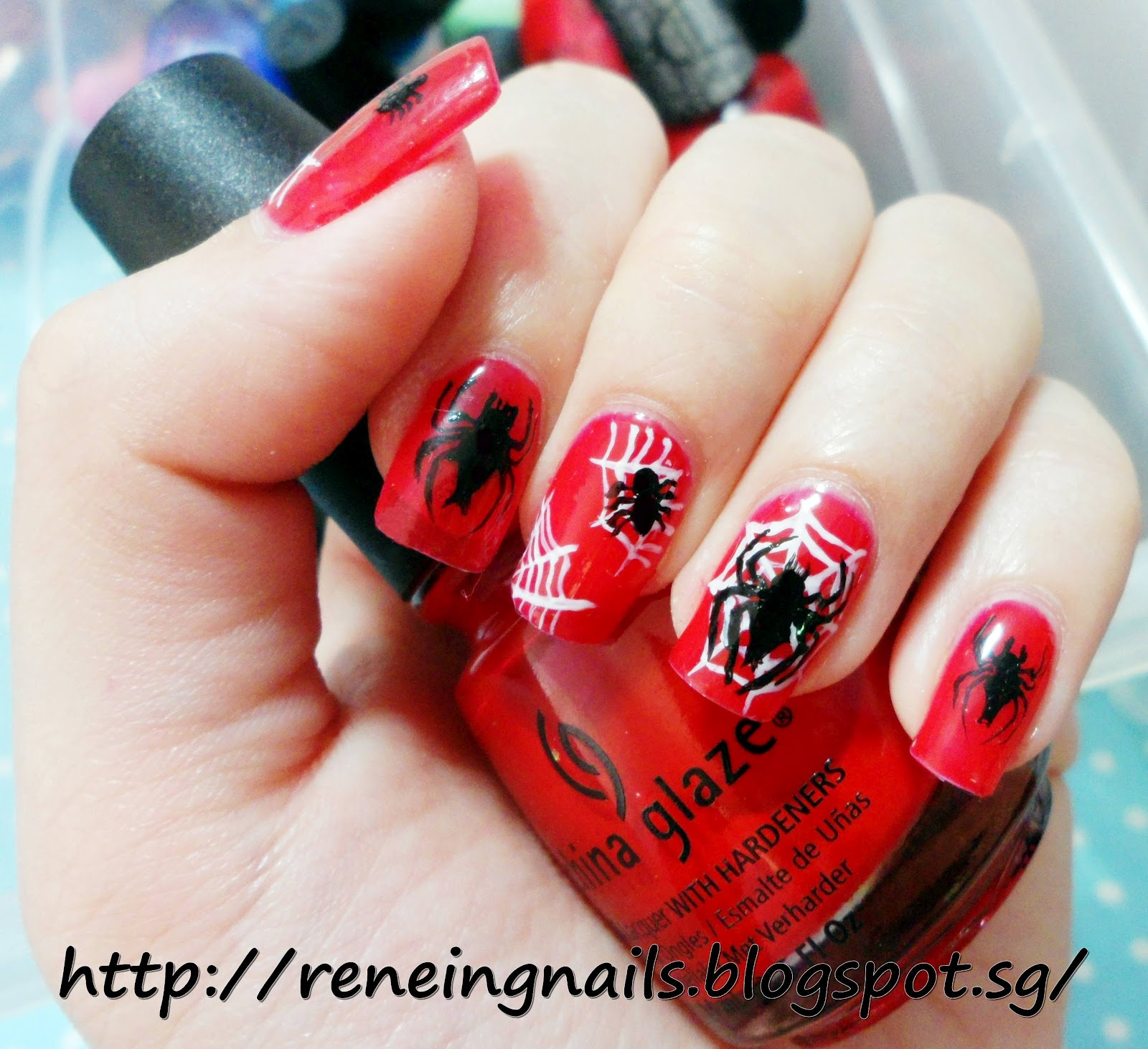 Reneing.Nails: N15045: Spiderman Inspired nail design!