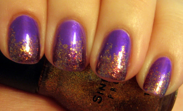"Purple and Bronze Gold Glitter Nails"" title="