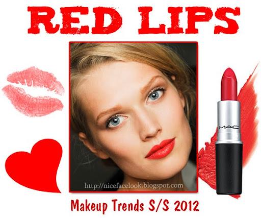 Червени устни тенденции за грим пролет-лято 2012