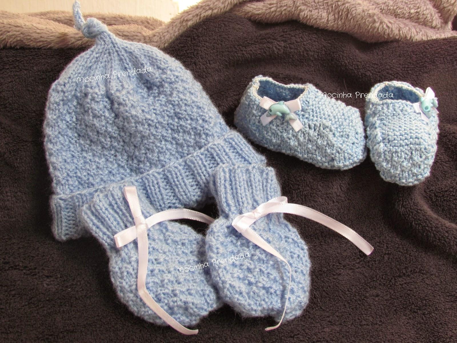 Mocinha Prendada  Kit para bebês em tricô - Ponto Bloquinhos 71b1611a1b0