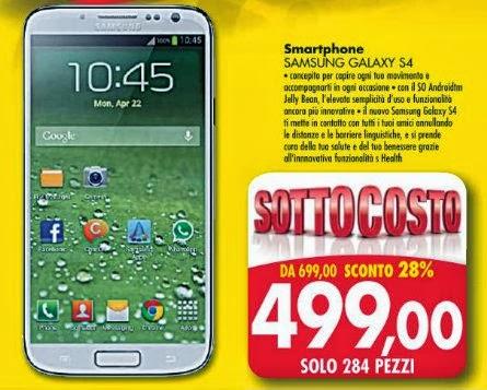 Emisfero fino al 5 ottobre 2013 propone in sottocosto il Galaxy S 4 a 499 euro: solo 284 pezzi disponibili