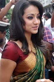 trisha  in saree  bobbed hair
