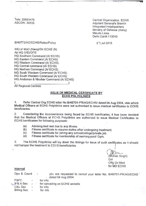 Ex Servicemen Welfare Isssue Of Medical Certificate By Echs Polyclinics
