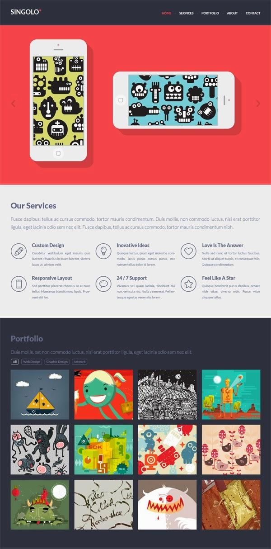 Flat Singolo PSD Website Templates