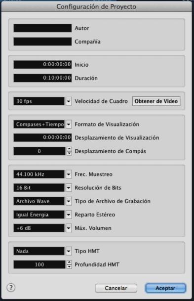 cubase tutorial, configuracion del proyecto cubase