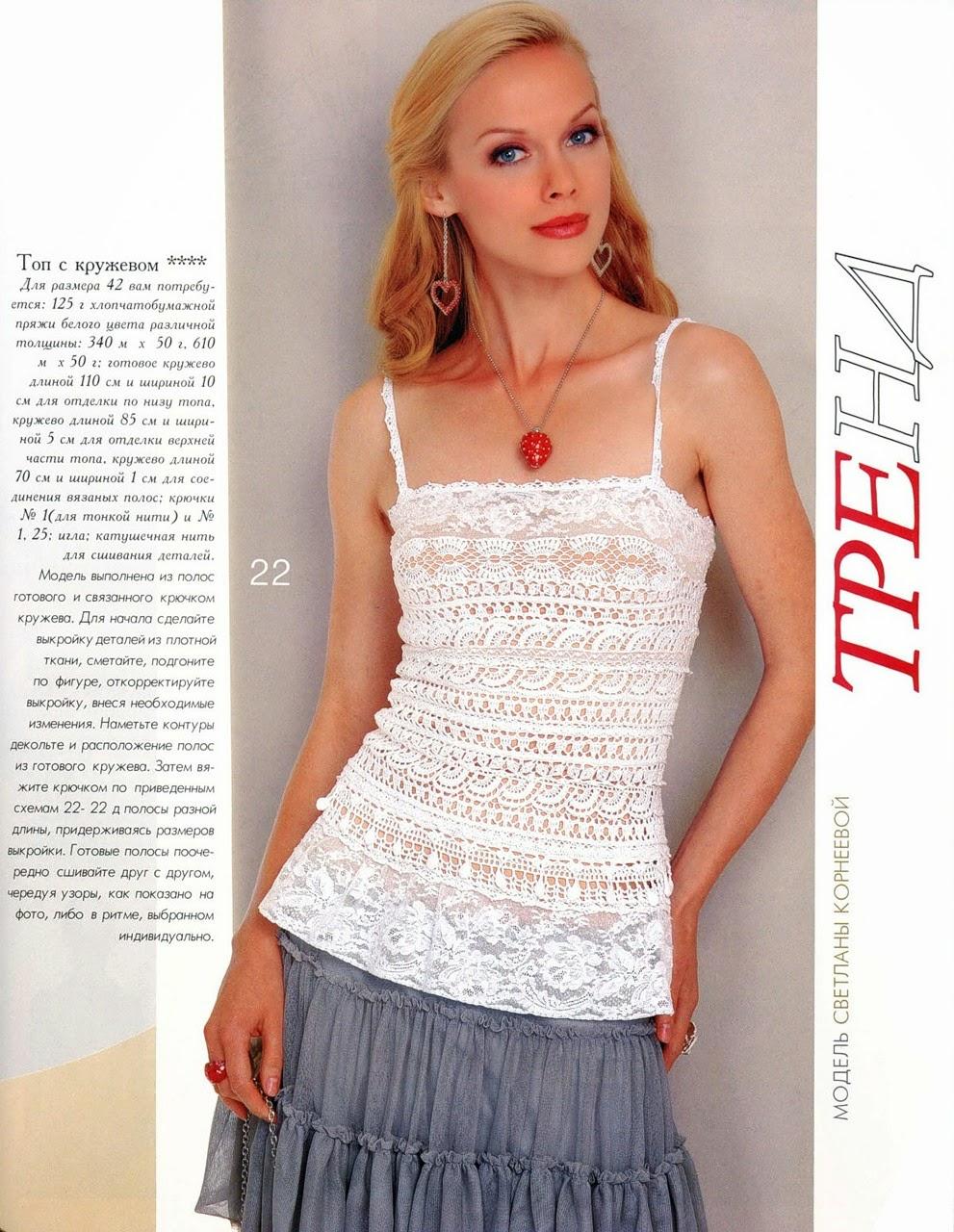 Musculosa de dama con puntillas al crochet