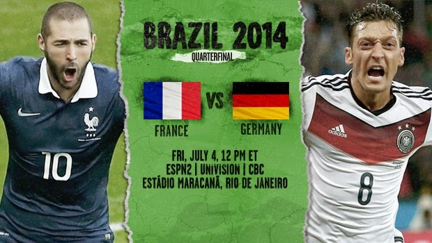 France vs. Germany live 2014 FIFA WORLD CUP Quarter-finals