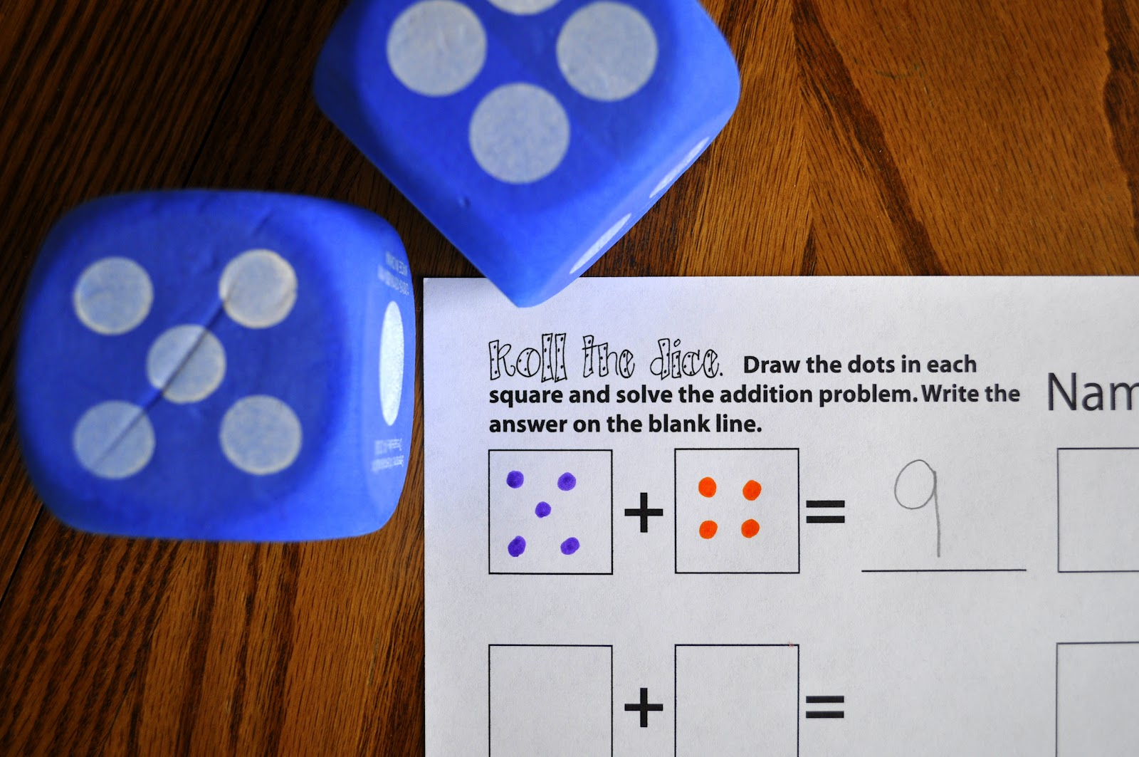 Color games for pre k - I Made A Printable Found Here For A Roll The Dice Addition Practice Game Simply Roll The Dice Color In The Dots And Solve The Problem