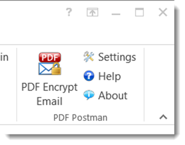 PDF Postman toolbar buttons integrated in Outlook 2013.