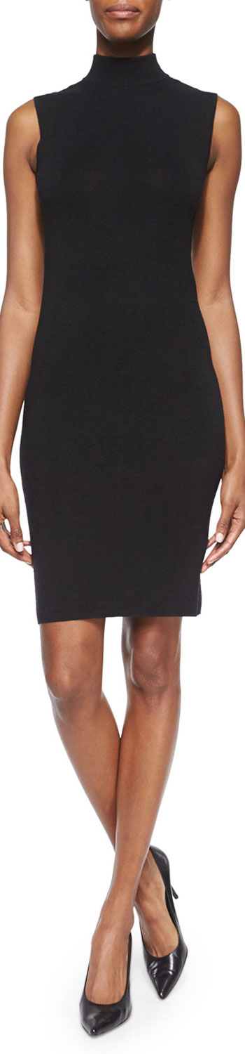 Ralph Lauren Black Label Cashmere/Silk Sleeveless Mock-Neck Dress black